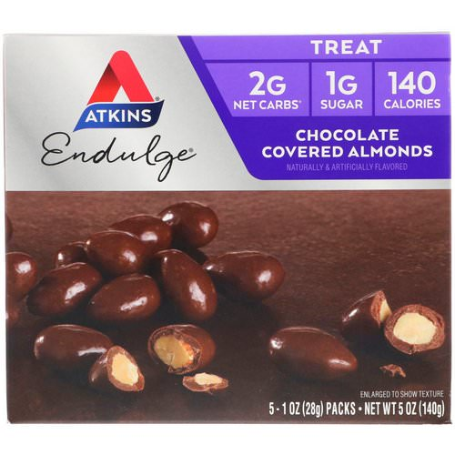 Atkins, Endulge, Chocolate Covered Almonds, 5 Packs, 1 oz (28 g) Each Review