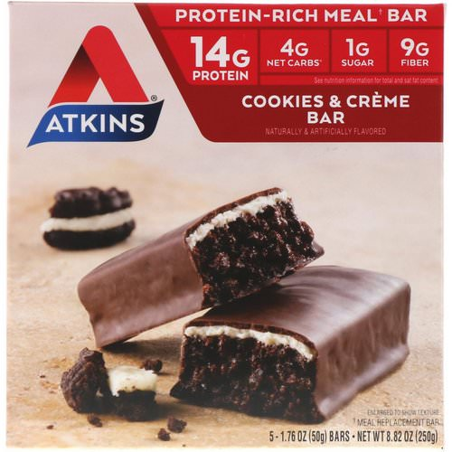 Atkins, Meal Bar, Cookies n' Creme Bar, 5 Bars, 1.76 oz (50 g) Each Review