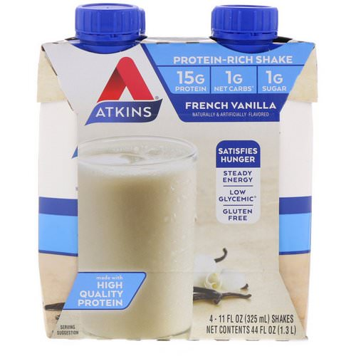 Atkins, Protein Rich Shake, French Vanilla, 4 Shakes, 11 fl oz (325 ml) Each Review
