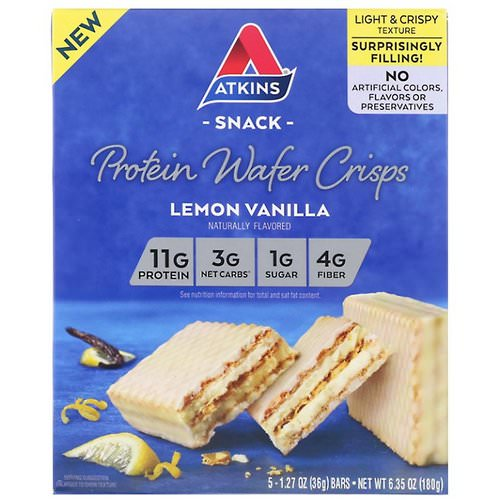 Atkins, Protein Wafer Crisps, Lemon Vanilla, 5 Bars, 1.27 oz (36 g) Each Review