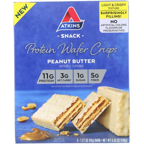 Atkins, Protein Wafer Crisps, Peanut Butter, 5 Bars, 1.27 oz (36 g) Each Review