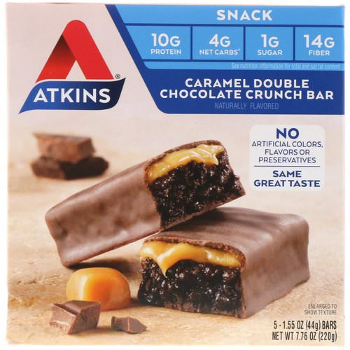 Atkins, Snack, Caramel Double Chocolate Crunch Bar, 5 Bars, 1.55 oz (44 g) Each Review