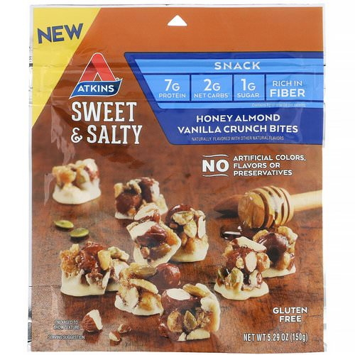 Atkins, Sweet & Salty Snacks, Honey Almond Vanilla Crunch Bites, 5.29 oz (150 g) Review