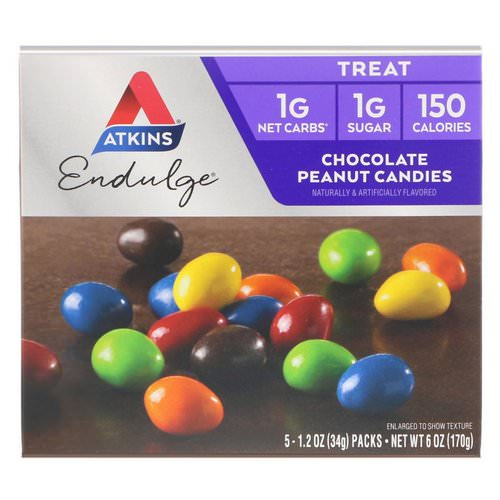Atkins, Endulge, Chocolate Peanut Candies, 5 Packs, 1.2 oz (34 g) Each Review