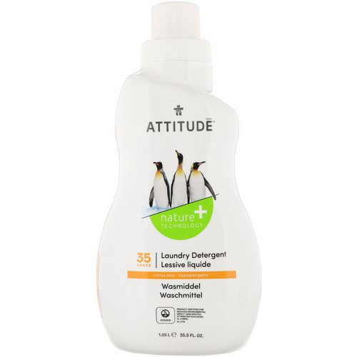 ATTITUDE, Laundry Detergent, 35 Loads, Citrus Zest, 35.5 fl oz (1.05 l) Review