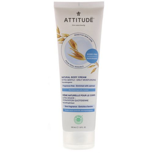 ATTITUDE, Natural Body Cream, Extra Gentle, Fragrance-Free, 8 fl oz (240 ml) Review
