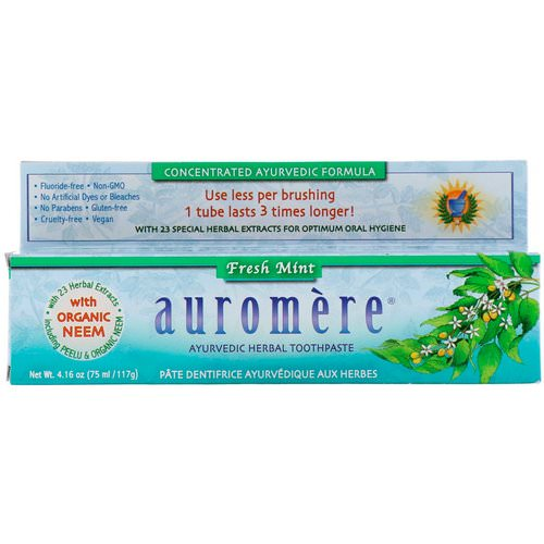 Auromere, Ayurvedic Herbal Toothpaste, Fresh Mint, 4.16 oz (117 g) Review