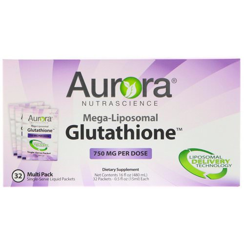 Aurora Nutrascience, Mega-Liposomal Glutathione, 750 mg, 32 Single-Serve Liquid Packets, 0.5 fl oz (15 ml) Each Review