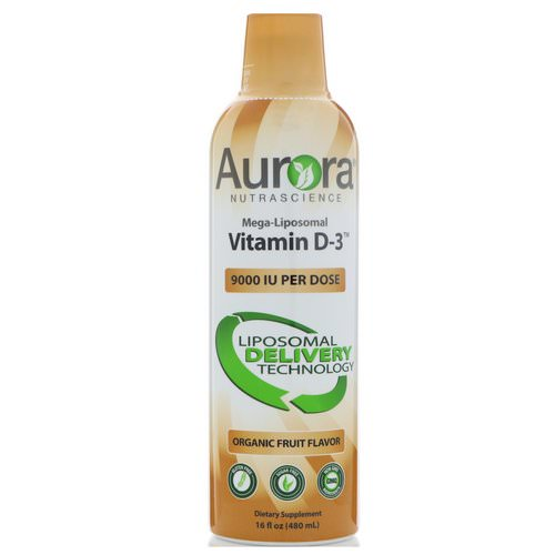 Aurora Nutrascience, Mega-Liposomal Vitamin D3, Organic Fruit Flavor, 9000 IU, 16 fl oz (480 ml) Review