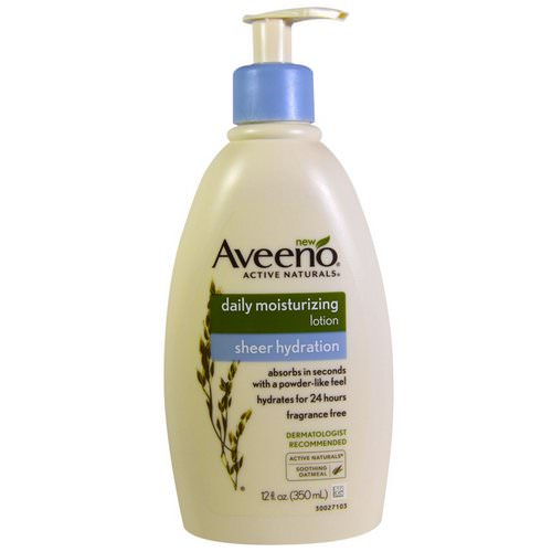 Aveeno, Active Naturals, Daily Moisturizing Lotion, Sheer Hydration, Fragrance Free, 12 fl oz (350 ml) Review