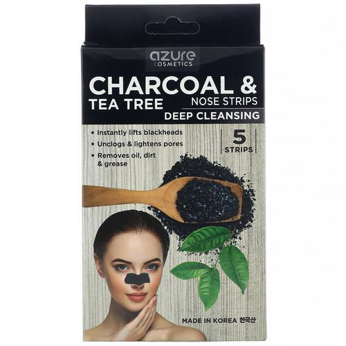 Azure Kosmetics, Charcoal & Tea Tree, Nose Strips, Deep Cleansing, 5 Strips Review