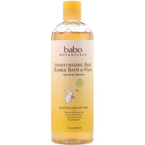 Babo Botanicals, Moisturizing Baby Bubble Bath & Wash, Oatmilk Calendula, 15 fl oz (450 ml) Review