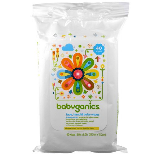BabyGanics, Face, Hand & Baby Wipes, Fragrance Free, 40 Wipes, (8.0 in x 6.0 in) Each Review