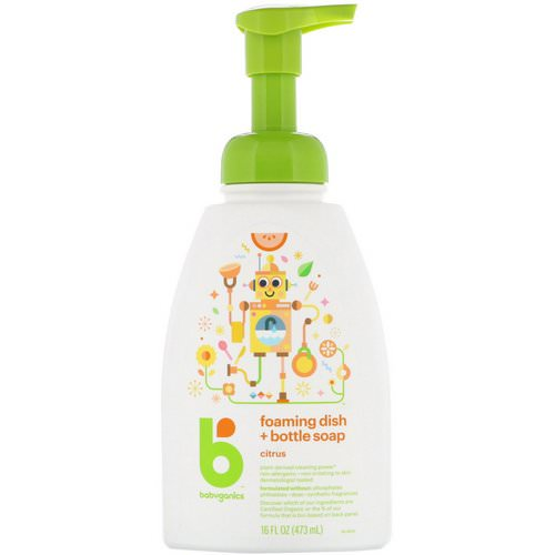 BabyGanics, Foaming Dish + Bottle Soap, Citrus, 16 fl oz (473 ml) Review