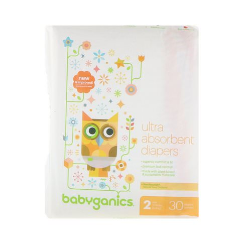 BabyGanics, Ultra Absorbent Diapers, Size 2, 12-18 lbs (5-8 kg), 30 Diapers Review