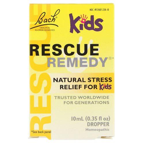 Bach, Original Flower Remedies, Rescue Remedy, Natural Stress Relief for Kids, Dropper, Alcohol-Free Formula, 0.35 fl oz (10 ml) Review