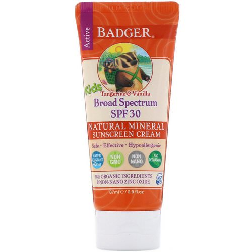 Badger Company, Active Kids, Natural Mineral Sunscreen Cream, SPF 30 PA+++, Tangerine & Vanilla, 2.9 fl oz (87 ml) Review