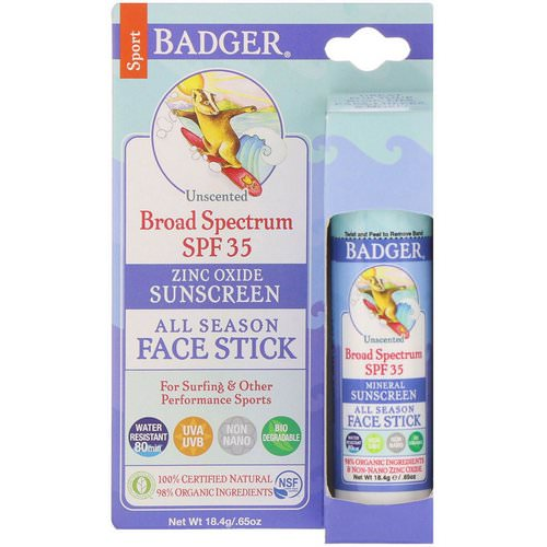 Badger Company, All Season Face Stick, Sport Sunscreen, SPF 35, Unscented, .65 oz (18.4 g) Review