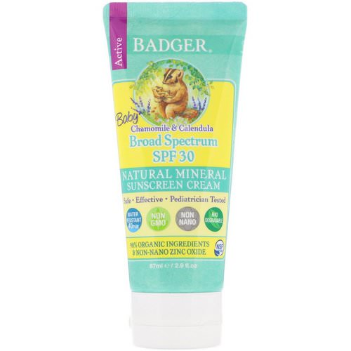 Badger Company, Baby Sunscreen Cream, SPF 30 PA+++, Chamomile & Calendula, 2.9 fl oz (87 ml) Review
