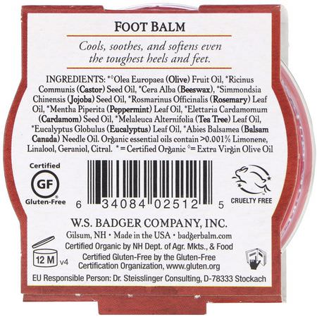 洗浴足部: Badger Company, Organic, Foot Balm, Peppermint & Tea Tree, .75 oz (21 g)