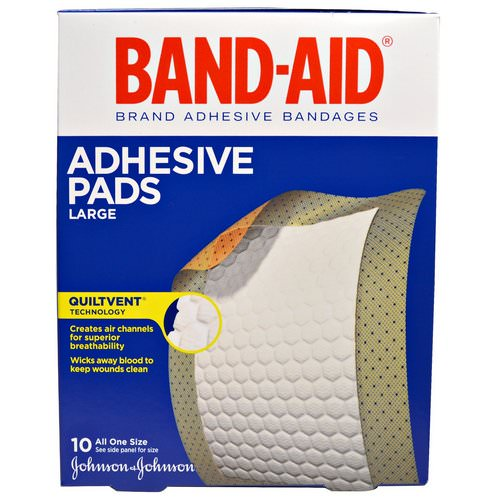 Band Aid, Adhesive Bandages, Adhesive Pads, Large, 10 Pads Review