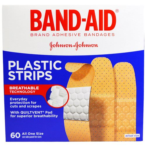 Band Aid, Adhesive Bandages, Plastic Strips, 60 Bandages Review