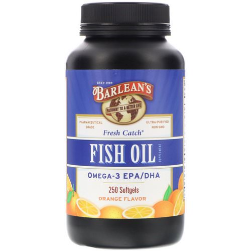 Barlean's, Fresh Catch, Fish Oil Supplement, Omega-3 EPA/DHA, Orange Flavor, 250 Softgels Review