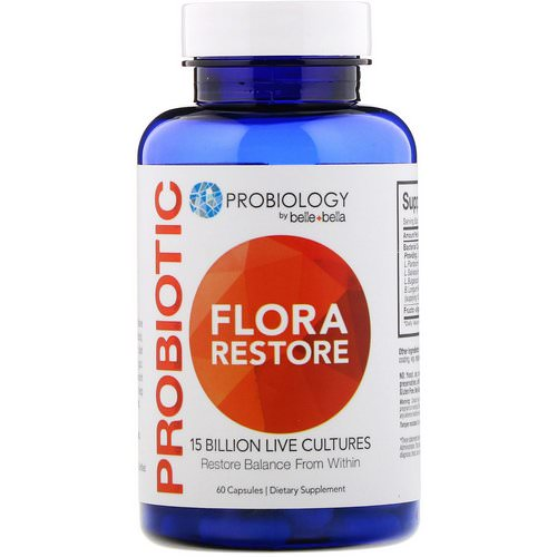 Belle+Bella, Probiology, Probiotic Flora Restore, 15 Billion CFU, 60 Capsules Review