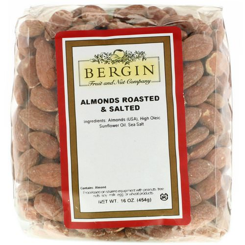 Bergin Fruit and Nut Company, Almonds Roasted & Salted, 16 oz (454 g) Review