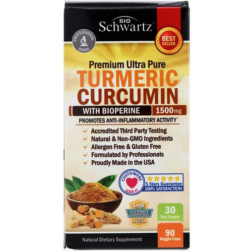 BioSchwartz, Premium Ultra Pure Turmeric Curcumin with Bioperine, 1500 mg, 90 Veggie Caps Review