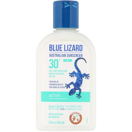 Blue Lizard Australian Sunscreen, Active, Mineral-Based Sunscreen, SPF 30+, 5 fl oz (148 ml) Review