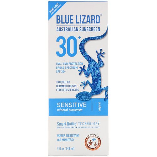 Blue Lizard Australian Sunscreen, Sensitive, Mineral Sunscreen, SPF 30+, 5 fl oz (148 ml) Review