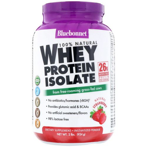 Bluebonnet Nutrition, 100% Natural, Whey Protein Isolate, Natural Strawberry, 2 lb (924 g) Review