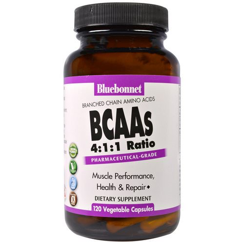 Bluebonnet Nutrition, BCAAs 4:1:1 Ratio (Branched Chain Amino Acids), 120 Veggie Caps Review