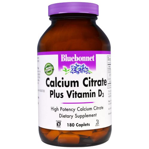 Bluebonnet Nutrition, Calcium Citrate, Plus Vitamin D3, 180 Caplets Review