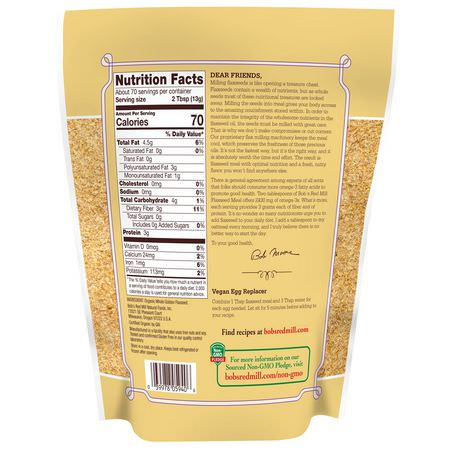 亞麻籽補品, 歐米茄EPA DHA: Bob's Red Mill, Organic Golden Flaxseed Meal, 2 lbs (907 g)