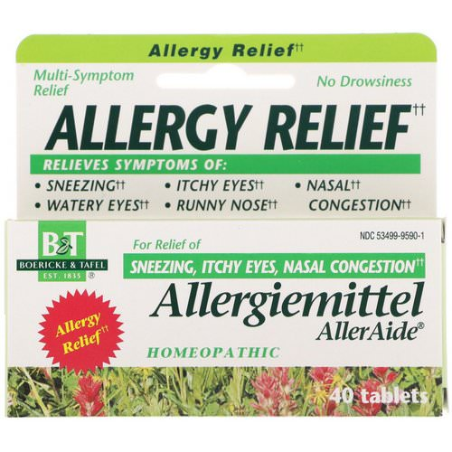 Boericke & Tafel, Allergy Relief, Allergiemittel AllerAide, 40 Tablets Review
