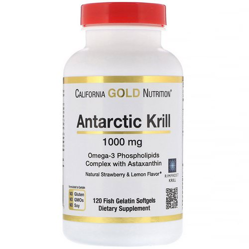 California Gold Nutrition, Antarctic Krill Oil, Natural Strawberry & Lemon Flavor, 1000 mg, 120 Fish Gelatin Softgels Review