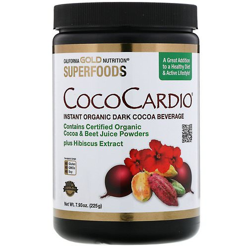 California Gold Nutrition, CocoCardio, Certified Organic Instant Dark Cocoa Beverage with Beet Juice & Hibiscus, 7.93 oz. (225 g) Review