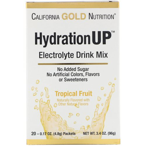 California Gold Nutrition, HydrationUP, Electrolyte Drink Mix, Tropical Fruit, 20 Packets, 0.17 oz (4.8 g) Each Review