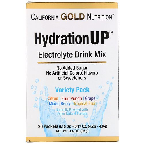California Gold Nutrition, HydrationUP, Electrolyte Drink Mix, Variety Pack, 20 Packets, 0.15 oz (4.2 g) Each Review