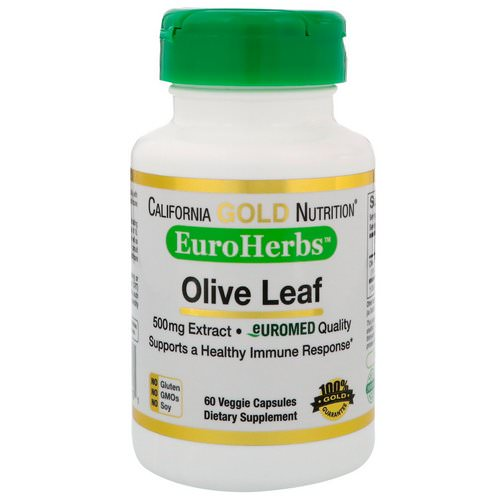 California Gold Nutrition, Olive Leaf Extract, EuroHerbs, European Quality, 500 mg, 60 Veggie Capsules Review
