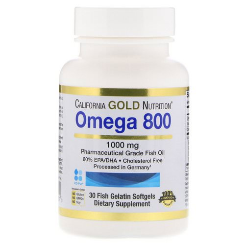 California Gold Nutrition, Omega 800 by Madre Labs, Pharmaceutical Grade Fish Oil, 80% EPA/DHA, Triglyceride Form, 1000 mg, 30 Fish Gelatin Softgels Review