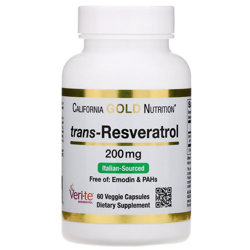 California Gold Nutrition, Trans-Resveratrol, Italian Sourced, 200 mg, 60 Veggie Capsules Review