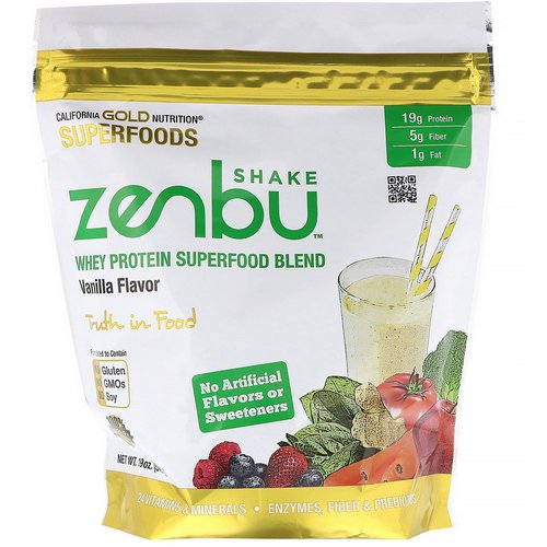 California Gold Nutrition, Zenbu Shake, Whey Protein Superfood Blend, Vanilla Flavor, 19 oz (540 g) Review