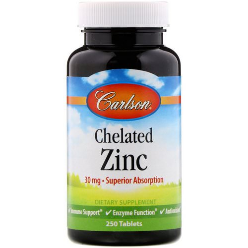 Carlson Labs, Chelated Zinc, 30 mg, 250 Tablets Review