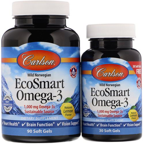 Carlson Labs, EcoSmart Omega-3, Natural Lemon Flavor, 1,000 mg, 90 + 30 Soft Gels Review