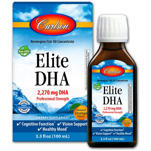 Carlson Labs, Elite DHA, Natural Orange Flavor, 2270 mg, 3.3 fl oz (100 ml) Review