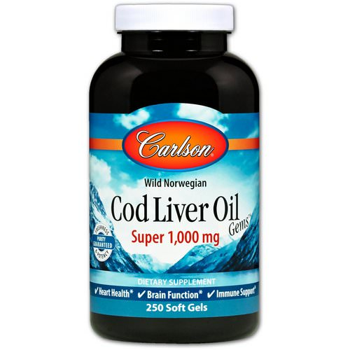 Carlson Labs, Wild Norwegian Cod Liver Oil Gems, Super, 1000 mg, 250 Soft Gels Review