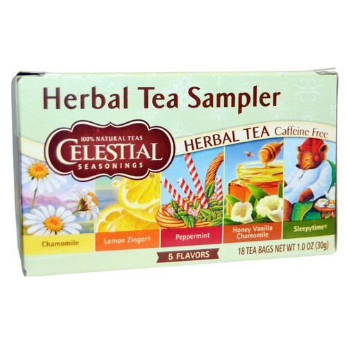 Celestial Seasonings, Herbal Tea Sampler, Caffeine Free, 5 Flavors, 18 Tea Bags, 1.0 oz (30 g) Review